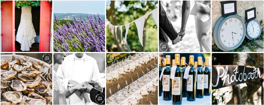 Photos illustrating Handmade Events South West France Home Wedding site for Louise Ham